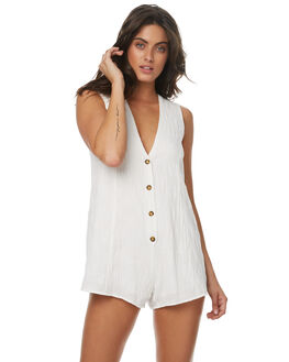 WHITE WOMENS CLOTHING ZULU AND ZEPHYR PLAYSUITS + OVERALLS - ZZ1555WHT