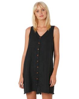 WASHED BLACK WOMENS CLOTHING THRILLS DRESSES - WTH9-906BBLACK