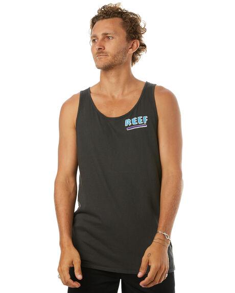 VINTAGE BLACK MENS CLOTHING REEF SINGLETS - SIH701BLK