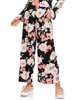 ANTHRACITE FLOWERS WOMENS CLOTHING ROXY PANTS - ERJNP03242-KVJ6