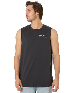 WASHED BLACK MENS CLOTHING SILENT THEORY SINGLETS - 4044002WBLK