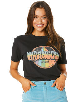 BLACK WOMENS CLOTHING WRANGLER TEES - W-951771-082