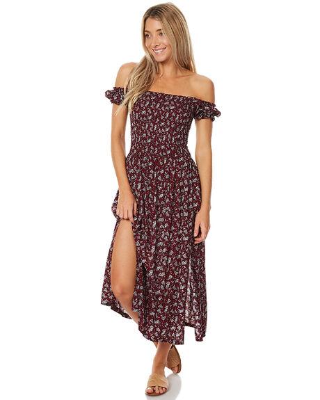 BURGUNDY FLORAL WOMENS CLOTHING SWELL DRESSES - S8161457BBURG