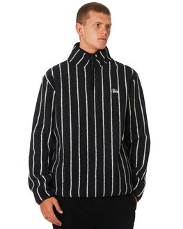 BLACK WHITE STRIPE MENS CLOTHING STUSSY JUMPERS - ST096201BLKWT