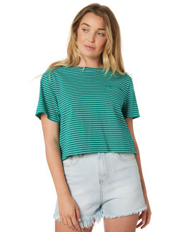 GREEN STRIPE WOMENS CLOTHING SWELL TEES - S8182003NVYST