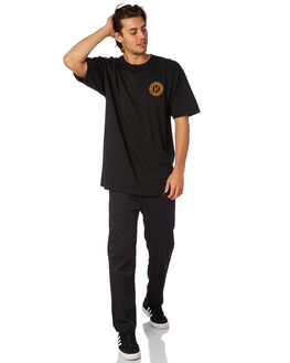BLACK MENS CLOTHING HUF TEES - TS00657BLK