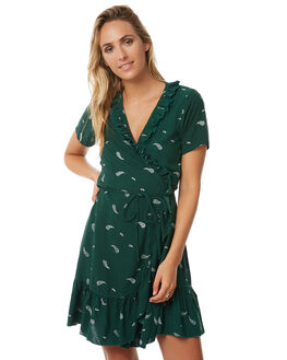 GREEN PAISLEY WOMENS CLOTHING RUE STIIC DRESSES - S118-28GREEN