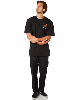 BLACK MENS CLOTHING HUF TEES - TS00739BLK