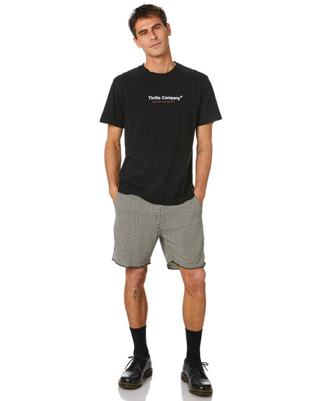 BLACK MENS CLOTHING THRILLS TEES - TH20-105BBLK