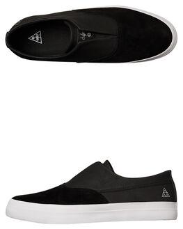 BLACK BLACK WHITE MENS FOOTWEAR HUF SLIP ONS - VC00009BKWH