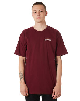 BURGUNDY MENS CLOTHING BRIXTON TEES - 06779BRGDY