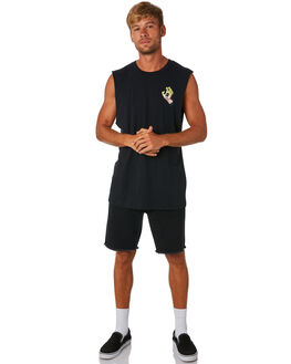 BLACK MENS CLOTHING SANTA CRUZ SINGLETS - SC-MTA9091BLK