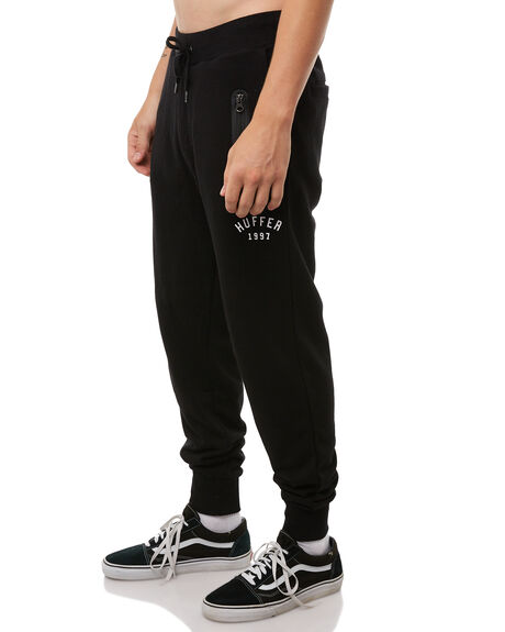 BLACK MENS CLOTHING HUFFER PANTS - MPA81S450BLK