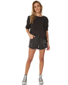 STONE BLACK WOMENS CLOTHING AFENDS SHORTS - 52-01-074SBLK