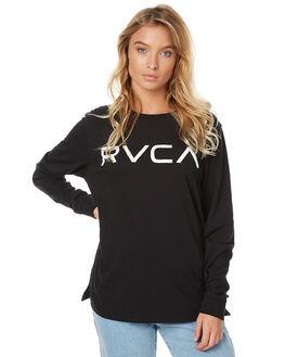 BLACK WOMENS CLOTHING RVCA TEES - R273100BLK