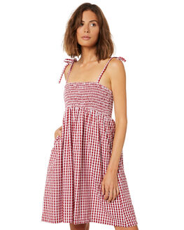 RED GINGHAM WOMENS CLOTHING SAINT HELENA DRESSES - SHS19111RED