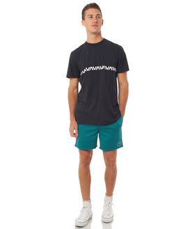 BLACK MENS CLOTHING RVCA TEES - R371009BLK