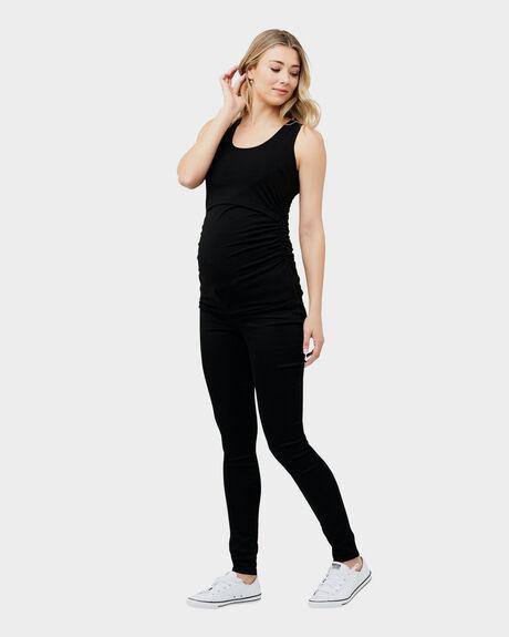 BLACK WOMENS CLOTHING RIPE MATERNITY SINGLETS - S6139-BLACK-XS