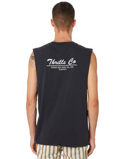 HERITAGE BLACK MENS CLOTHING THRILLS SINGLETS - TH9-111HBHRBLK