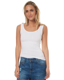 WHITE WOMENS CLOTHING BETTY BASICS SINGLETS - BB217WHI