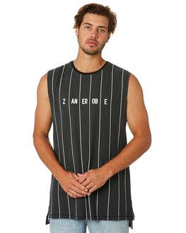 BLACK WHITE MENS CLOTHING ZANEROBE SINGLETS - 112-CONBLKWH