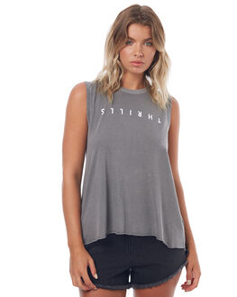 FADED GREY WOMENS CLOTHING THRILLS SINGLETS - WTS7-102GFGREY