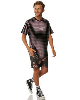 BLACK MENS CLOTHING STUSSY TEES - ST073111BLK