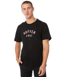 BLACK MENS CLOTHING HUFFER TEES - MTE82S220544BLK