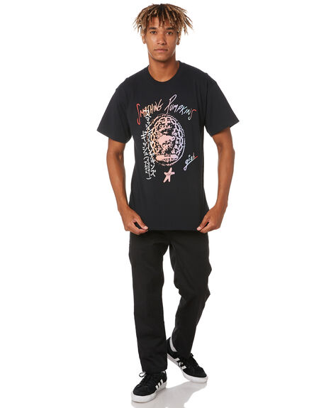 BLACK MENS CLOTHING HUF TEES - TS01403-BLACK