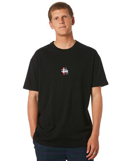 BLACK MENS CLOTHING STUSSY TEES - ST073014BLK