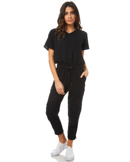 BLACK WOMENS CLOTHING RPM PLAYSUITS + OVERALLS - 7PWD05ABLK
