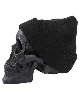 BLACK MENS ACCESSORIES BILLY BONES CLUB HEADWEAR - BBCBEAN012BLK