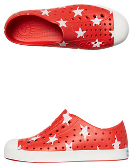 TORCH RED WHITE KIDS BOYS NATIVE SLIP ONS - 12100101-8544