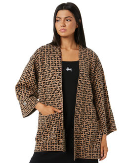 TAN BLACK WOMENS CLOTHING STUSSY KNITS + CARDIGANS - ST195300TANBL