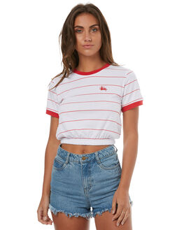 RED WHITE STRIPE WOMENS CLOTHING STUSSY TEES - ST173027REDWH