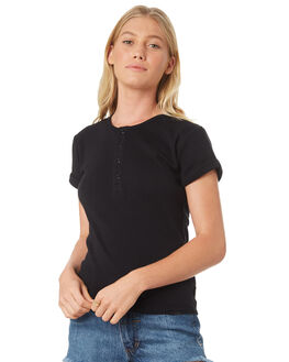 BLACK WOMENS CLOTHING BILLABONG TEES - 6581132BLK