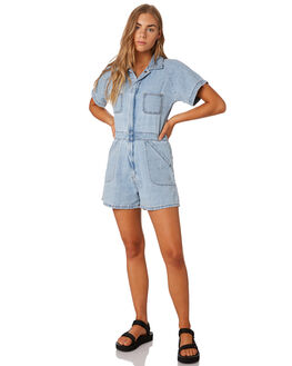 WASTED BLUE WOMENS CLOTHING THRILLS PLAYSUITS + OVERALLS - WTDP-936EBLUE
