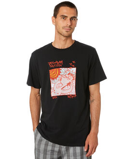 WASHED BLACK MENS CLOTHING MISFIT TEES - MT005002WSHBK