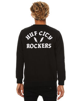 BLACK MENS CLOTHING HUF JUMPERS - PF00012BLK