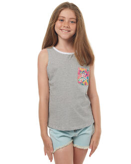 LIGHT GREY MARLE KIDS GIRLS RIP CURL SINGLETS - JTECV13597