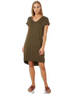 OLIVE WOMENS CLOTHING BETTY BASICS DRESSES - BB510SP19OLV