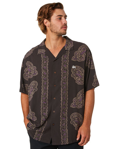 BLACK MENS CLOTHING STUSSY SHIRTS - ST093405BLK