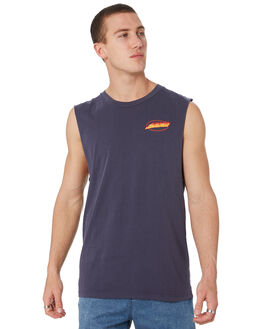 PIGMENT NEW NAVY OUTLET MENS SANTA CRUZ SINGLETS - SC-MTD9380PGNVY