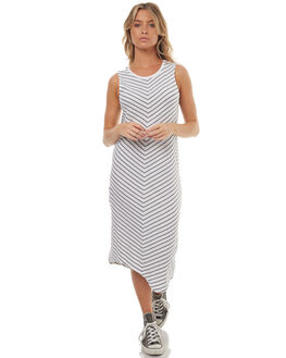 BLACK WHITE STRIPE WOMENS CLOTHING SILENT THEORY DRESSES - 6008015STR