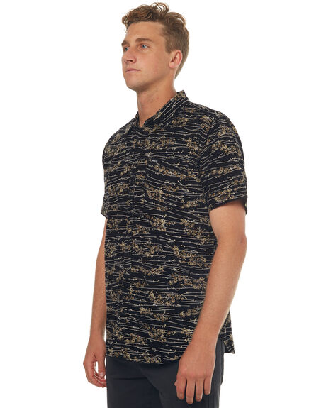 BLACK MENS CLOTHING RVCA SHIRTS - R171187BLK