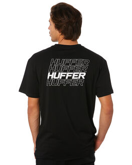 BLACK MENS CLOTHING HUFFER TEES - MTE92S23.401BLK