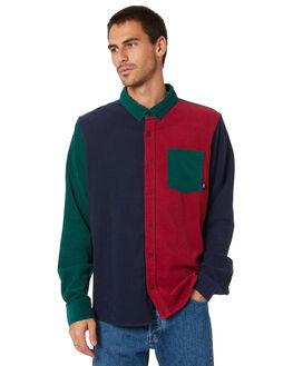 NAVY DARK RED MENS CLOTHING STUSSY SHIRTS - ST005412NVDRD