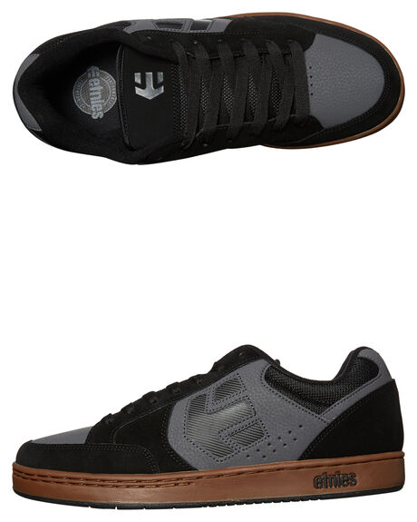 BLACK GREY GUM MENS FOOTWEAR ETNIES SKATE SHOES - 4101000465BKGR