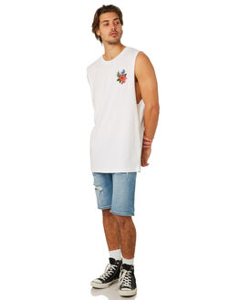 WHITE MENS CLOTHING SANTA CRUZ SINGLETS - SC-MTD8020WHT