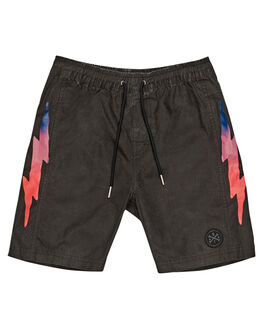 BLACK ACID WASH KIDS BOYS ALPHABET SOUP BOARDSHORTS - AS-KBC8334BKACD